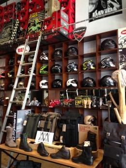 Wall of helmets