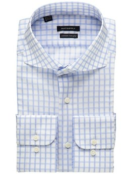 Blue and white checked shirt by Suit Supply