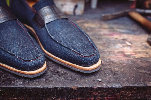 Corthay's Japanese denim slip-on loafers with leather trim.
